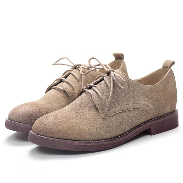 Retro Oxford Shoes for Women Genuine Leather Shoes Woman Lace up .