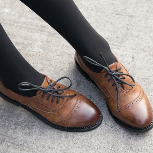 Ladies Vintage FAUX Leather Round Toe Lace Up Brogues Womens .