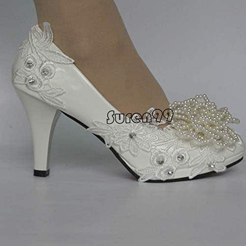 Amazon.com: White Round Toe rhinestone lace ladies shoes women .