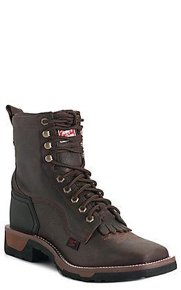 Tony Lama Men's TLX Carthage Brown Square Toe Lace Up Work Boot .