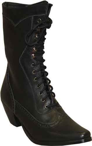 Abilene Ladies Vintage Lace Up Boot - Black - Ladies' Western .