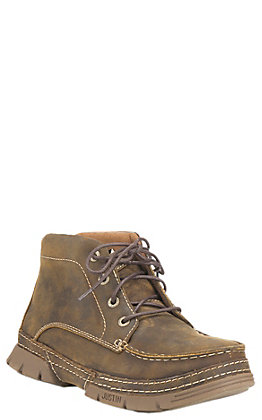 Justin Men's Distressed Tan Steel Toe Lace Up Work Boot | Cavender