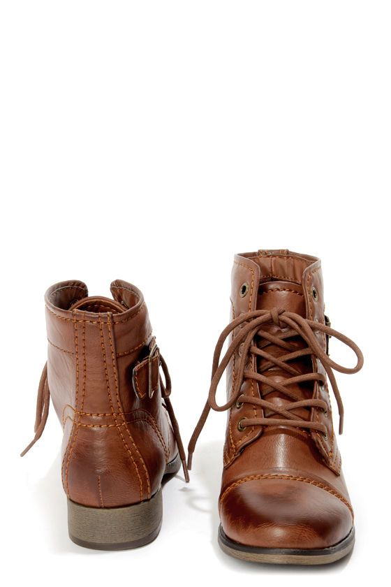 Madden Girl Armie Cognac Lace-Up Ankle Boots | Boots, Lace up .