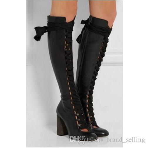 2017 Women Fashion Boots Knee High Booties Lace Up Boots Leather .
