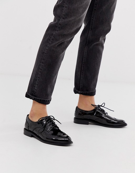 ASOS DESIGN More flat lace up shoes in black | AS