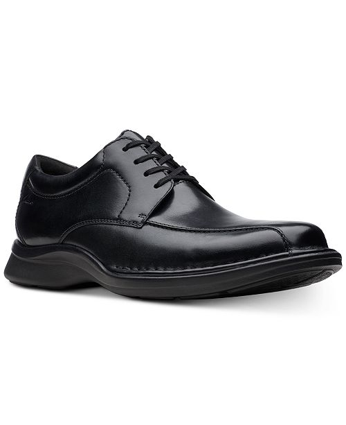 Clarks Men's Kempton Run Black Leather Dress Casual Lace-Up Shoes .