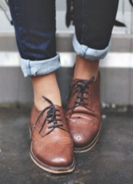 shoes, derbies, brown leather, brogue shoes, women brogues, lace .