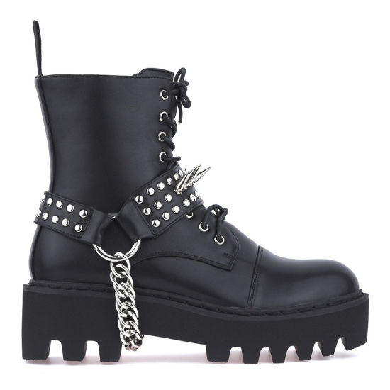 China Fashion Women Boots Girls Spikes Chains Winter Studs Lace up .