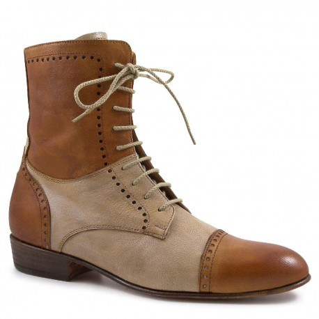 Hand Made women's mid-calf lace-up boots tan/incense Color Beige .