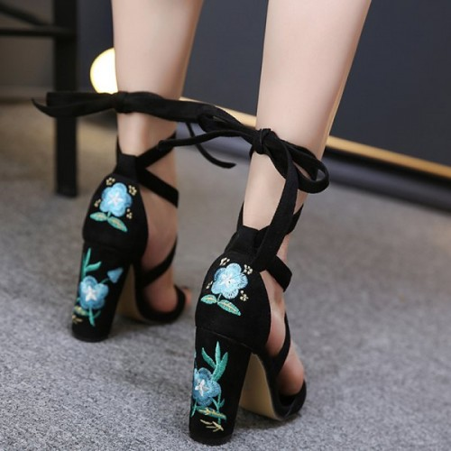 Floral Women Lace-Up Embroidery Block Heel Tie Up Sandals .