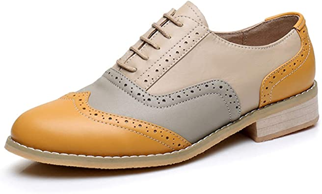 Amazon.com | LaRosa Women's Classical Leather Wing-up Brogues Flat .