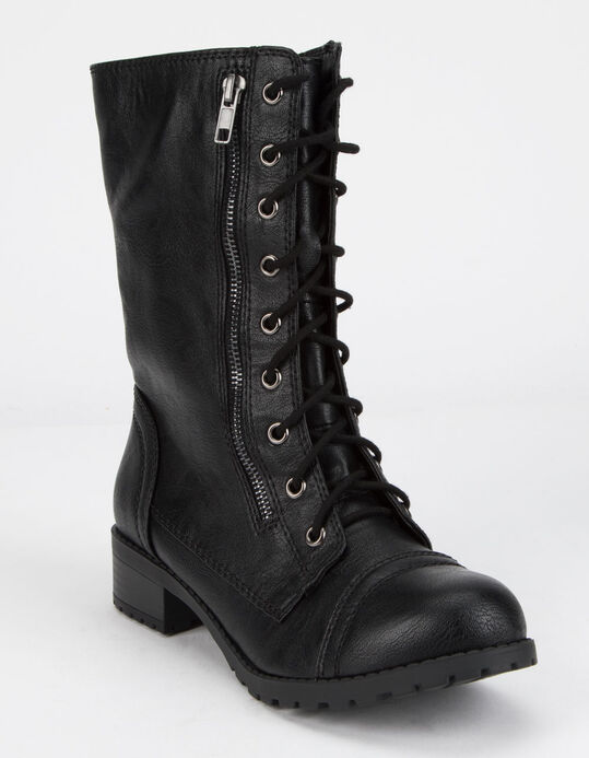 SODA Lace Up Black Womens Combat Boots - BLACK - 354431100 | Till