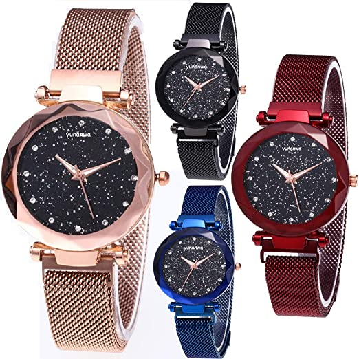 Amazon.com: yunanwa 4 Pack Women Ladies Watches, Starry Sky Magnet .