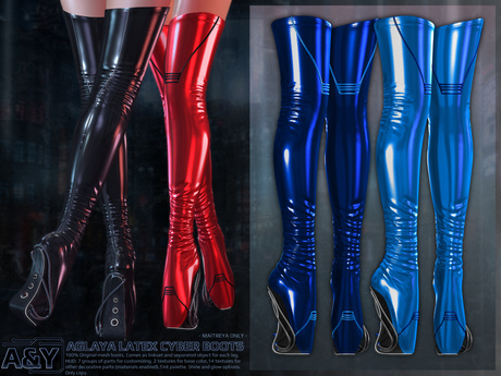 Second Life Marketplace - A&Y Aglaya Latex Cyber Boots - Bl