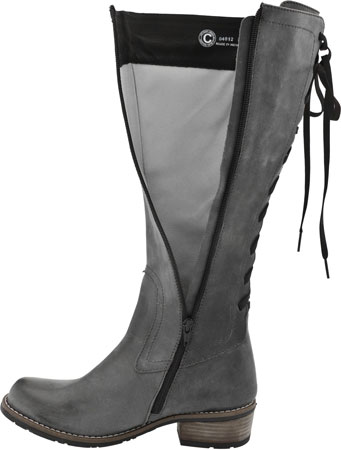 Grey Leather Boots For Women - Boot