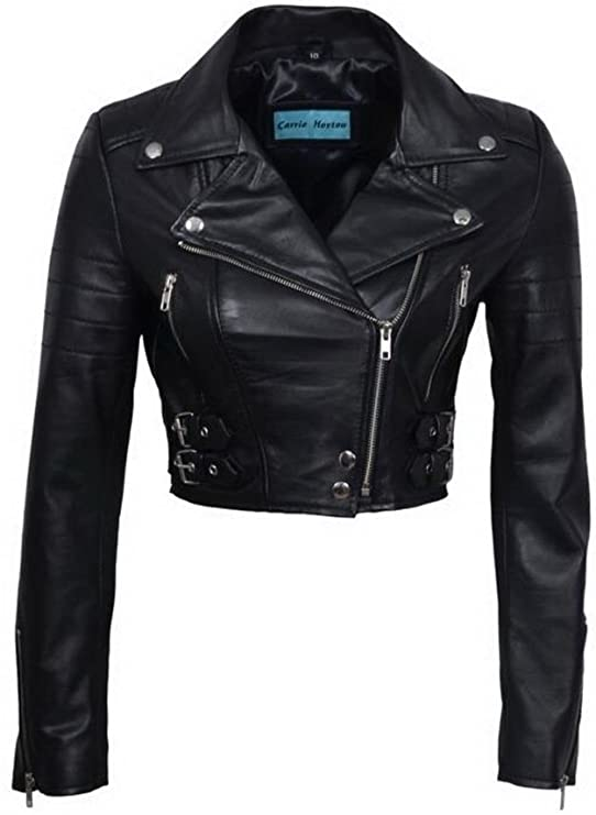 Infinity Women's Chic Black Cropped Leather Biker Jacket at Amazon .