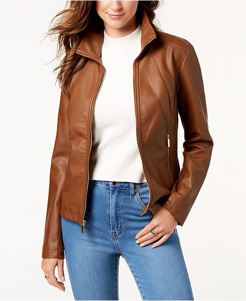 Kenneth Cole Faux-Leather Jacket & Reviews - Coats - Women - Macy