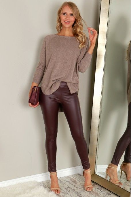 Faux Leather Pants Maroon | Leather pants, Leather pants outfit .