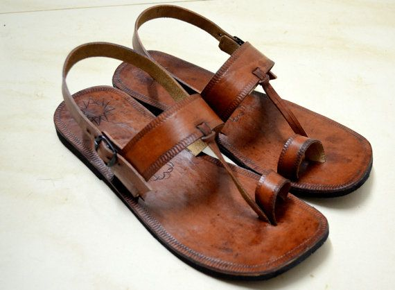 Moroccan Inspired Sling Back Leather Sandals-Handmade Sandals .