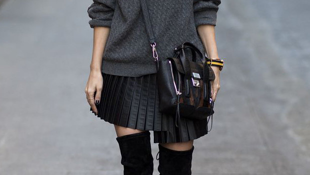 Ideas to Wear Pleated Leather Skir