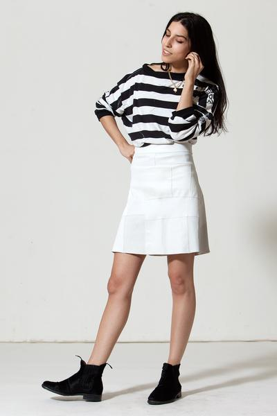 Patchwork A-line Stretch Leather Skirt: White – Daryl