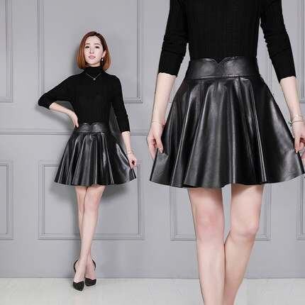 Women New Sheepskin Skirt Pleated Leather Skirt K55|Skirts .
