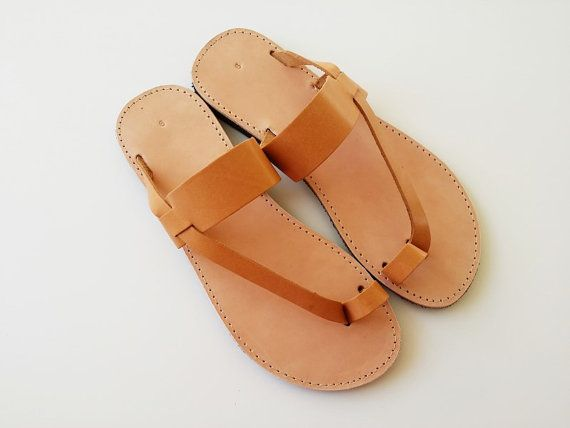 Items similar to Women Toe Ring Sandals in Brown With Leather .