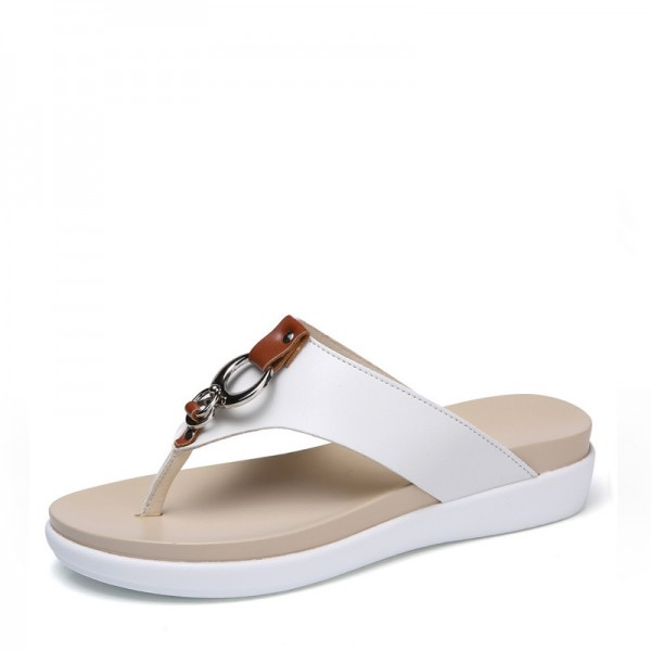 Buy Summer Women Flip Flops Slipper Genuine Leather Casual Lady .