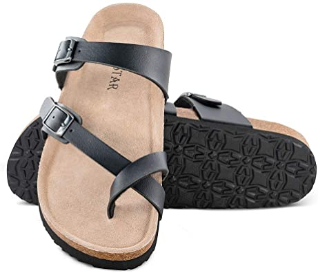 Amazon.com | Mayari Leather Sandals, Adjustable Flat Casual .