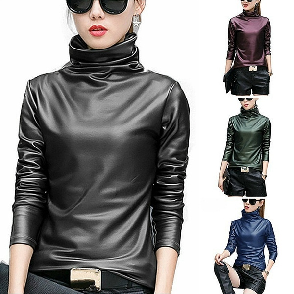 Womens Fashion Leather Tops Sexy Long Sleeve T-shirts Thickened PU .