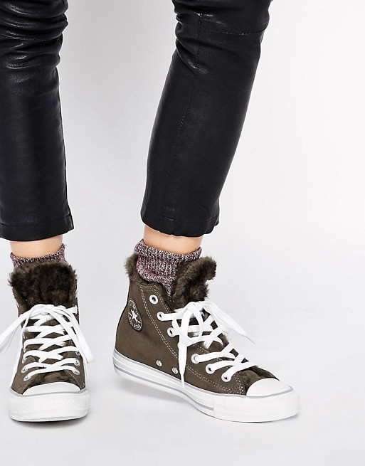Converse Chuck Taylor All Star Faux Fur Lined Leather Sneakers | AS