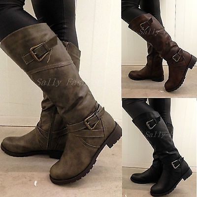 New Womens Knee Boots Slouchy Low Heel Biker Boots Fur Lined .