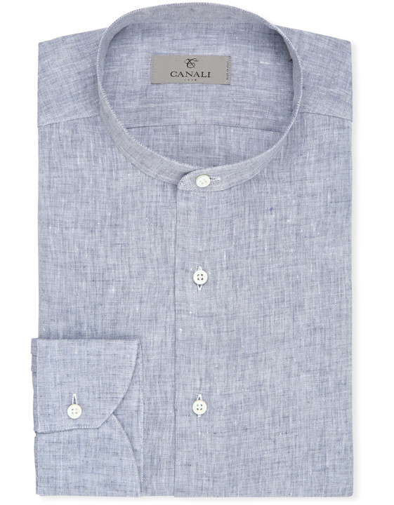 Blue pure linen shirt with Mandarin collar | Canali.c