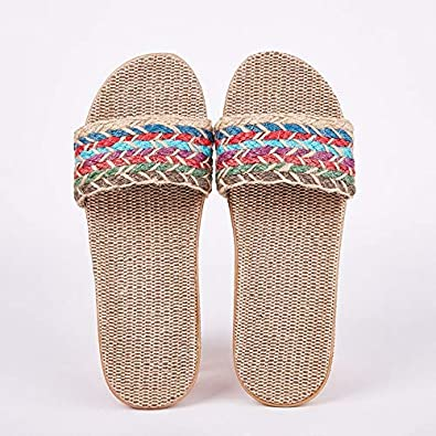 Amazon.com | Women's Linen Slippers Sandals Summer Comfortable Non .