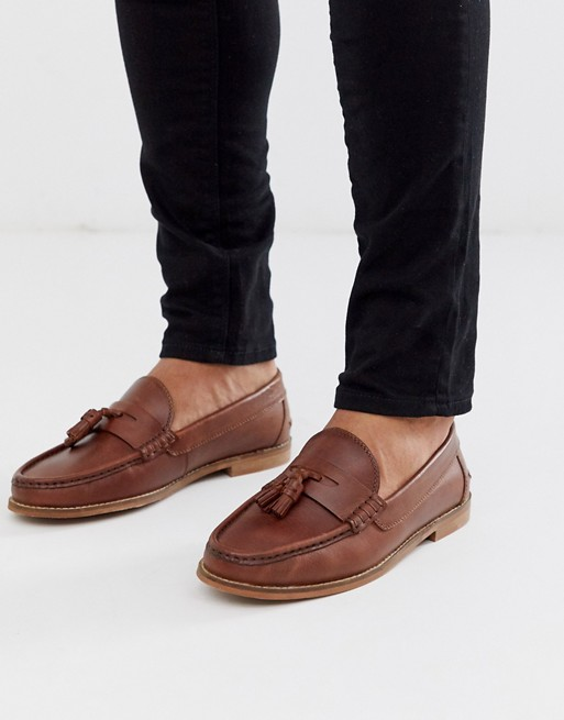 ASOS DESIGN tassel loafers in tan leather with natural sole | AS