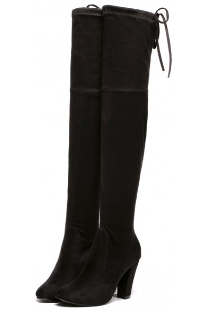 Suede Black Long Knee High Heels Point Head Tied Up Boots .