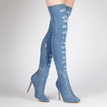 Stiletto Ripped Denim Blue Long Boots For Women Thigh High Boots .