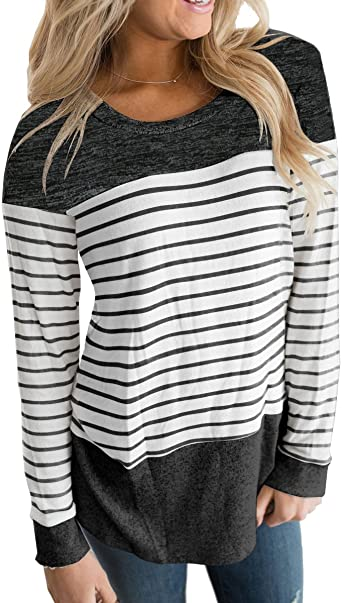 Vemvan Womens Long Sleeve Round Neck T Shirts Color Block Striped .
