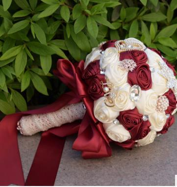 Luxury Crystal Beaded Burgundy Bridesmaid Flower Bouquet White Red .