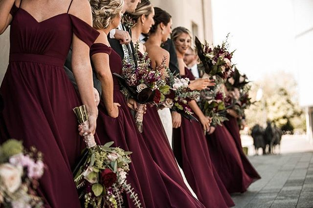 Burgundy beauties in their @KennedyBlueOfficial bridesmaids gowns .