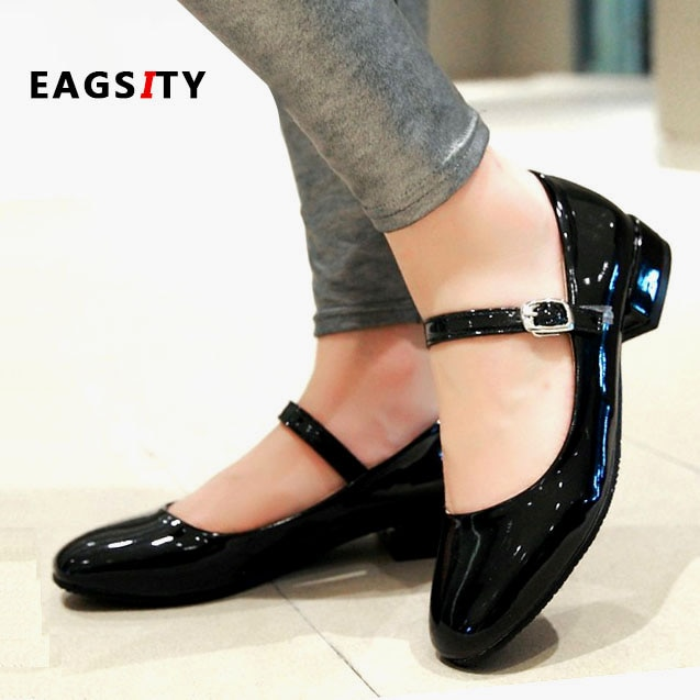 EAGSITY Classic Mary Jane shoes for women square heel ankle strap .