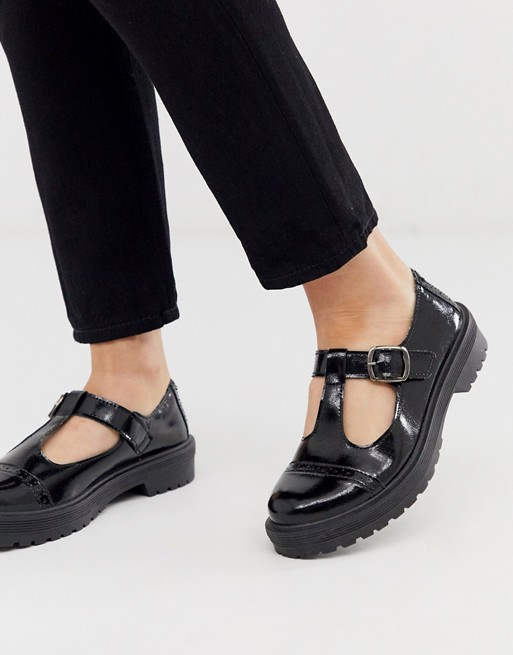 ASOS DESIGN Madrid chunky mary jane flat shoes in black | AS