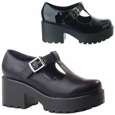New Ladies Womens Chunky Mid High Block Heel T-Bar Platform Mary .