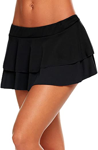 Avidlove Women Pleated Mini Skirt Solid Ruffle Lingerie Skirts at .