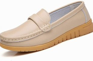 Amazon.com | Leather Shoes Slip on Women Flats Moccasins Women's .