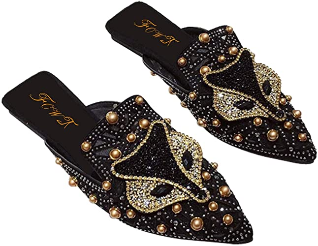Amazon.com | FOWT Women Rhinestone Glitter Mule Pointed Toe .