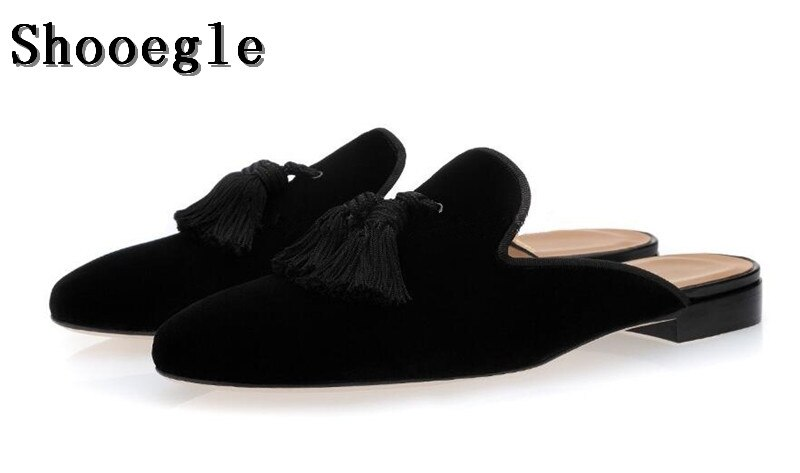 SHOOEGLE Men Slip On Flats Suede Handmade Shoes Casual Tassel .