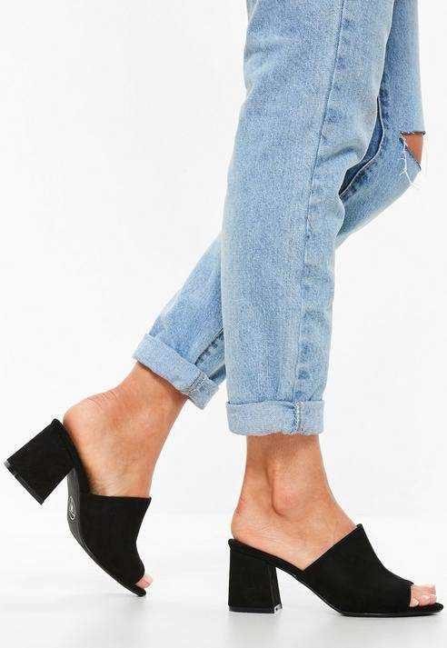 Missguided Black Faux Suede Mid Flared Heel Peep Toe Mules | Peep .