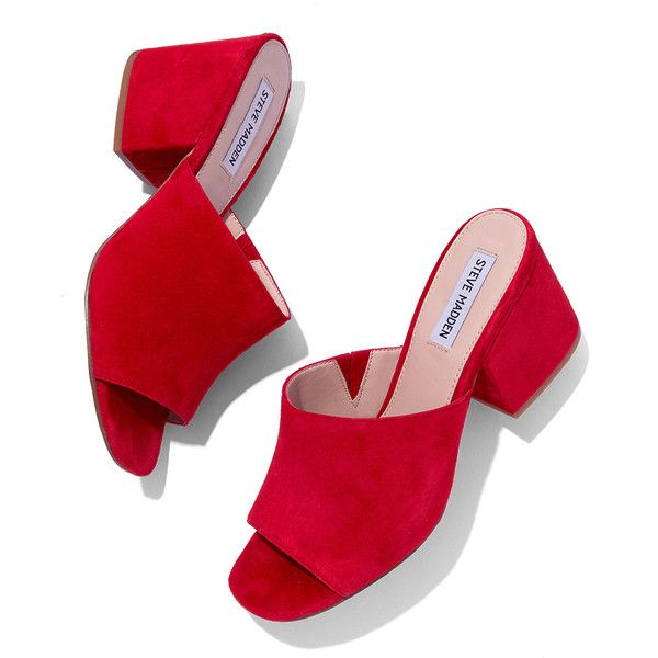 Steve Madden Red Dalis Mule ($90) ❤ liked on Polyvore featuring .