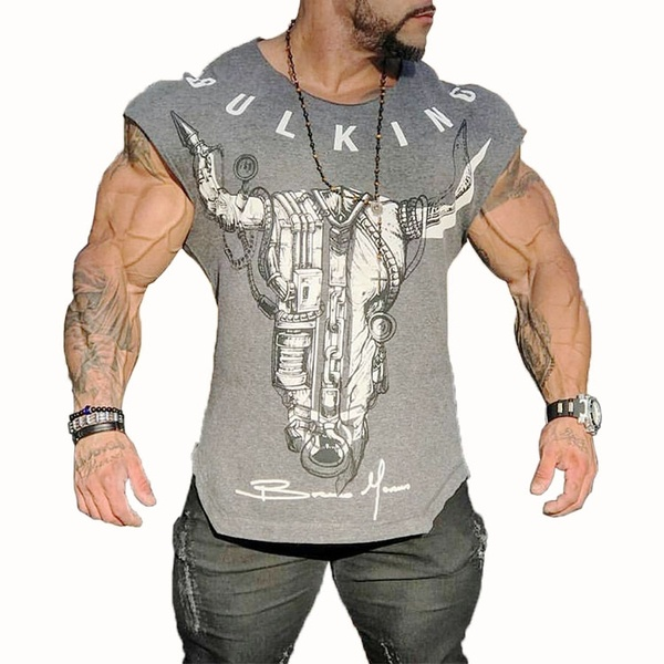 Bodybuilding Mens Tanks Muscle Shirts Gym T-shirt Fitness Workout .